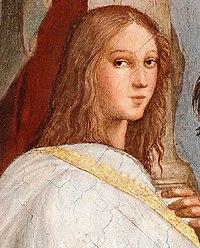 Ipazia di Alessandria, particolare da La scuola di Atene, di Raffaello.