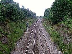 English: South Wales main line near Llanharan ...