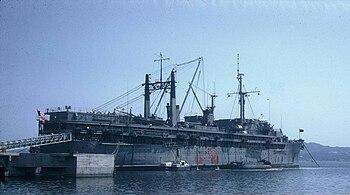 The U.S. Navy Fulton-class submarine tender US...
