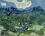 A starless, moonless evening sky of middle blue with two large white clouds are above darker blue twisting hills in the distance. In the foreground is a grove of Olive trees, that extend horizontally across the whole painting, towards the bottom is a winding, twisting path that extends horizontally across the painting