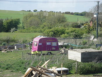 The UKIP caravan parked up in Wroxall, Isle of...