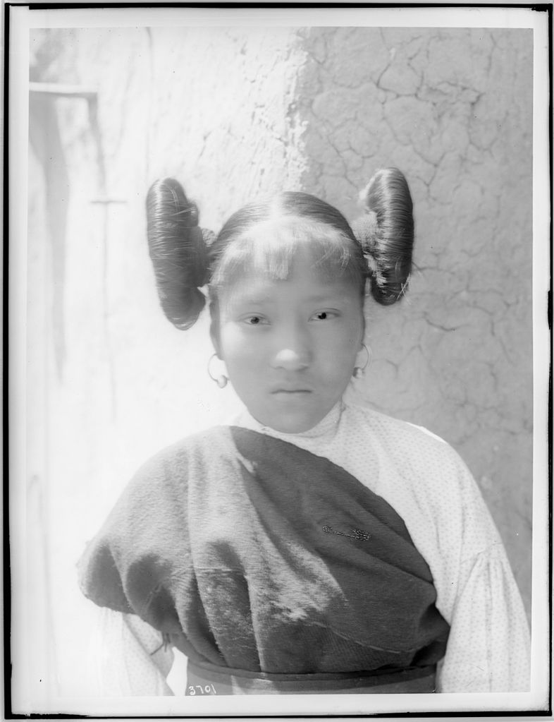 FileYoung Hopi Indian Girl With Hair Worn Up In Large