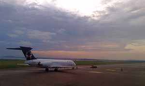 Air Uganda MD-80 at Entebbe International Airport.