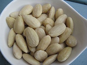 Blanched almonds.
