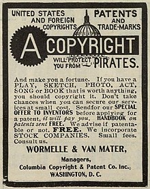 An advertisement for copyright and patent preparation ...