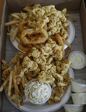Fried clams, fries, and onion rings