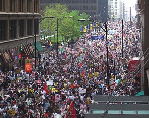 Picture of a rally in Chicago, part of the Gre...