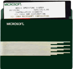 Microsoft Xenix 1.00 on 5¼-inch floppy disk