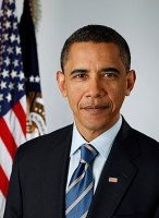 Official presidential portrait of Barack Obama...