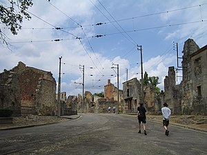 The main street of Oradour-sur Glane. This is ...