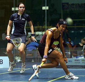 Nicol David returning the ball to Jenny Duncal...