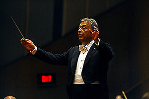 Zubin Mehta conducting the Israeli Philharmoni...