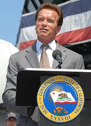 California Governor Arnold Schwarzenegger spea...