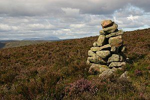 English: Cairn on side of Stobie Hillock This ...