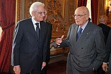 Sergio Mattarella with his predecessor, Giorgio Napolitano