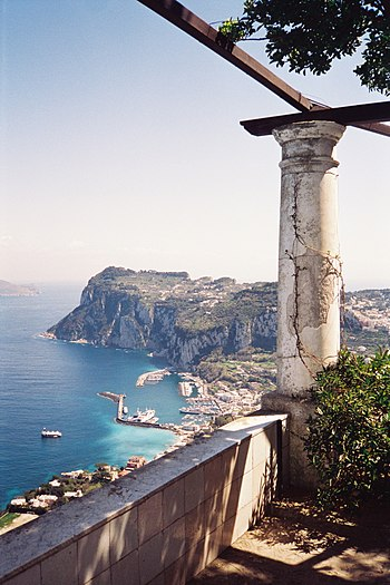 Overlooking Capri harbor from the rotunda in V...
