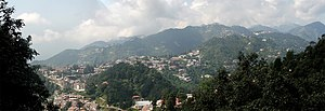 Panoramic view of Mussoorie, Uttarakhand.