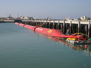 A Pelamis wave energy converter during the fin...