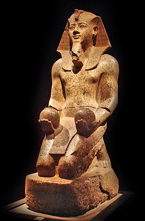 Statue of pharaoh Amenhotep II of the 18th dyn...