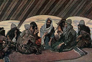 Jethro and Moses, as in Exodus 18, watercolor ...