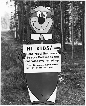 "Yogi Bear with ""don't feed the bears""..."
