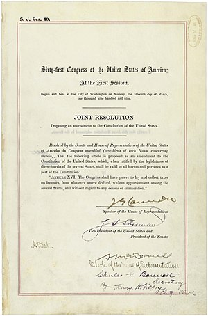 16th Amendment of the United States Constitution.