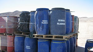 Drums with dangerous waste