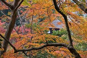 Ginkaku-ji (Silver pavilion, Kyoto) seen throu...