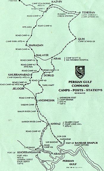 English: Persian Gulf Command (Map) Camps - Po...