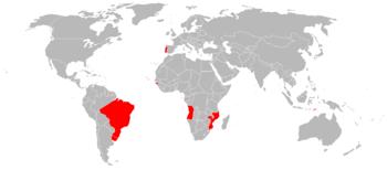 Extensão máxima do Império Português no século XVII.