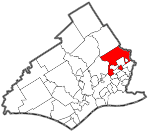 Showing the location within Delaware County, P...