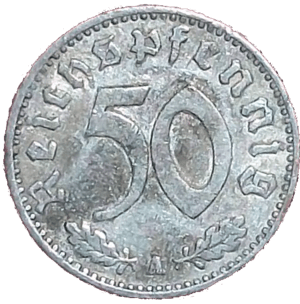 English: German Coin with value of 50 Reichspf...