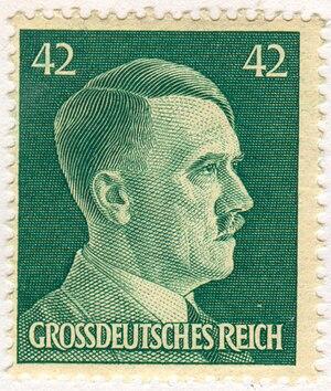 فارسی: تمبر رایش بزرگ آلمان با چهره آدولف هیتل...