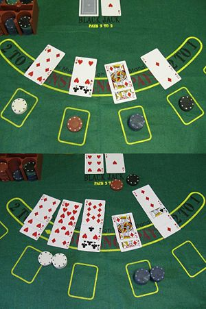 Example of a Blackjack game. The top half of t...