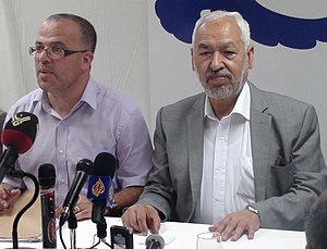 Rached Ghannouchi, président du parti Ennahda,...