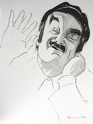 Deutsch: Karikatur des Schauspielers Jürgen Manger