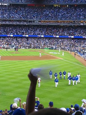 A Dodger fan waves a rally towel during game 3...