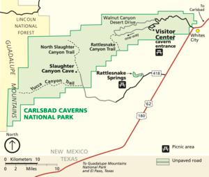 Map of Carlsbad Caverns National Park
