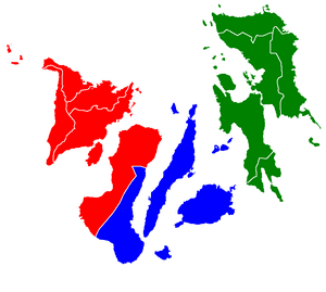 English: A map of Visayas color-coded by regio...