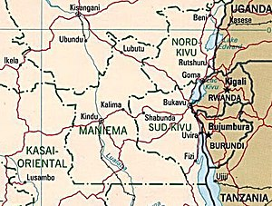 Map of eastern Democratic Republic of Congo