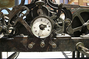 English: An Old clock with cogs