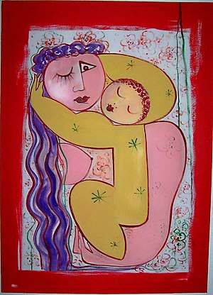 English: Mother with child; Oil on canvasC...