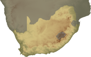 Topographical map of South Africa, continent v...