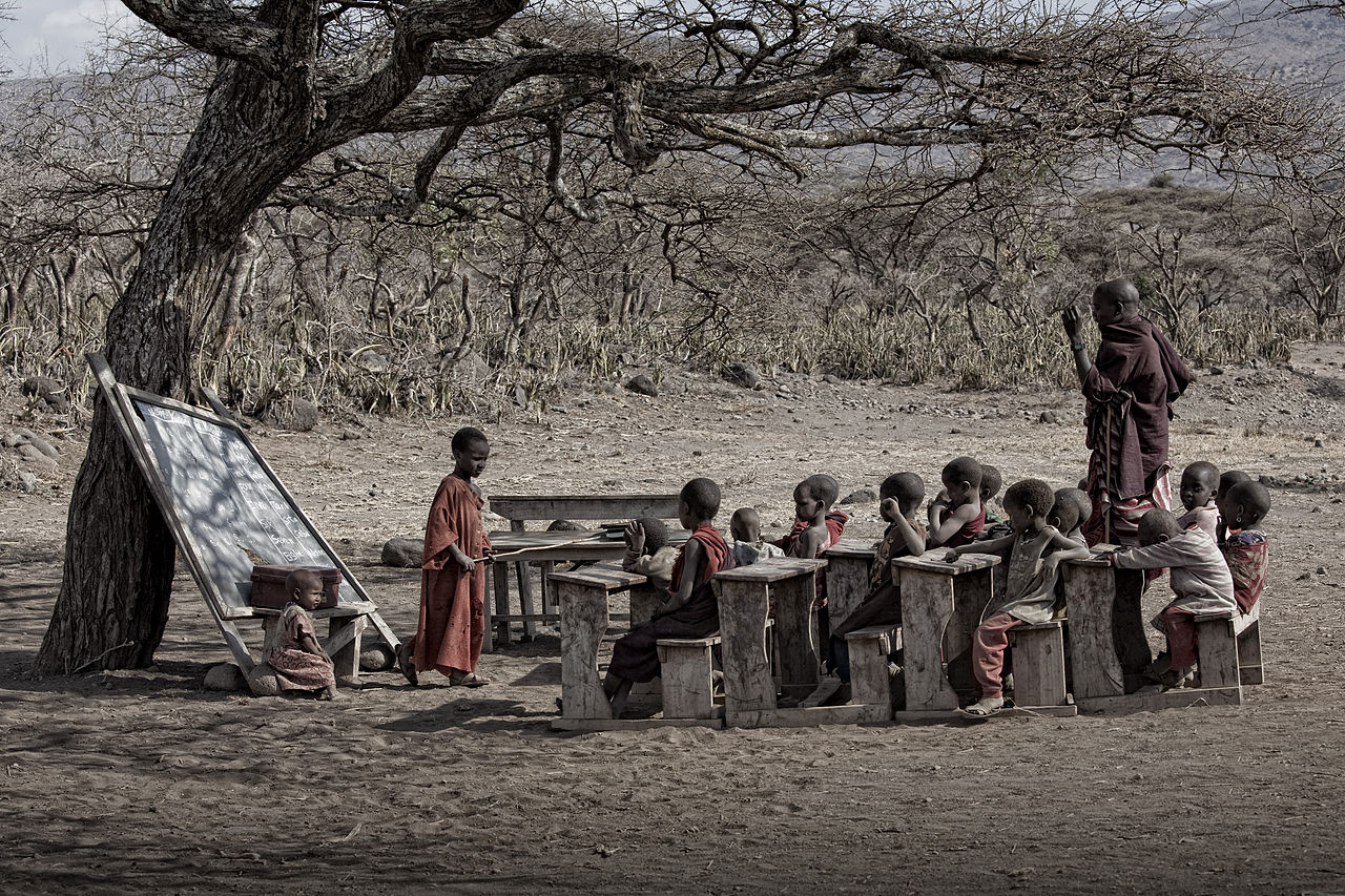 Maasai school in Tanzania. Photo by Noel Feans,
