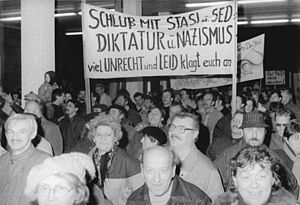 Citizens protesting/invading the Stasi buildin...