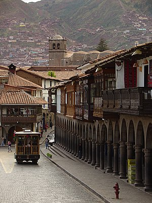 Spanish architecture on the Plaza de Armas in ...
