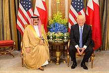King Hamad meets with President Donald Trump on 21 May 2017