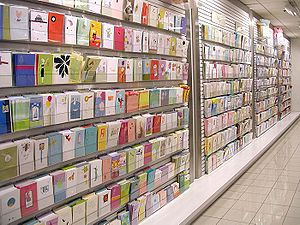 Greeting cards on display at retail.