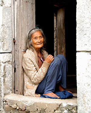 An 85-year old Ivatan woman sitting at her hou...