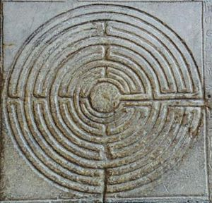 Labyrinth on the portico of the cathedral of S...